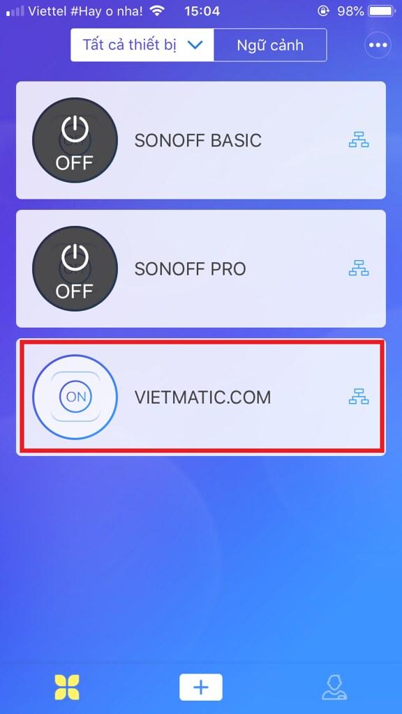 Trên điện thoại 1: Mở app eWelink, chọn thiết bị muốn chia sẻ