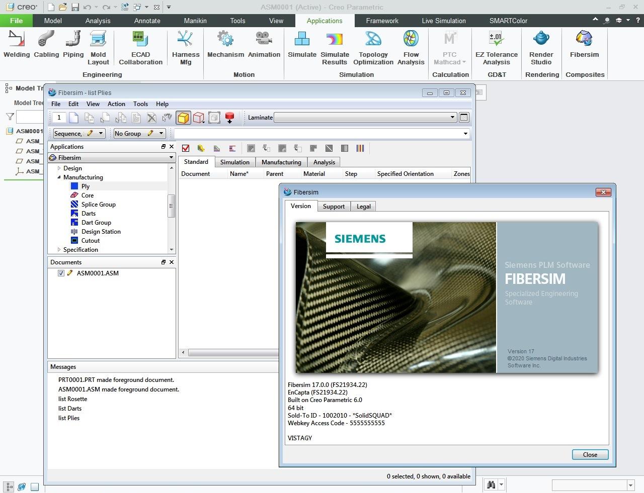 Working with Siemens FiberSIM 17.0.0 for Creo full license