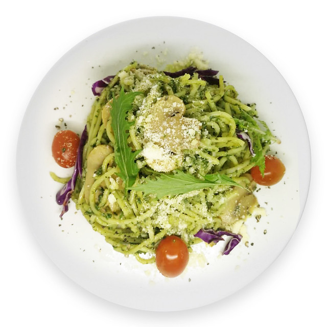 Mushroom Pesto Spaghetti (VG)