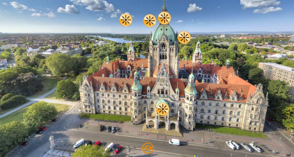 Virtuele citytrip Hannover, Neues Rathaus (beeld via Hannover Living, HMTG) | Mooistestedentrips.nl