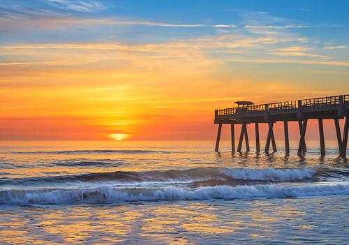 florida jacksonvillebeach jaxbeach sunrise pier beach sea ocean sun sky