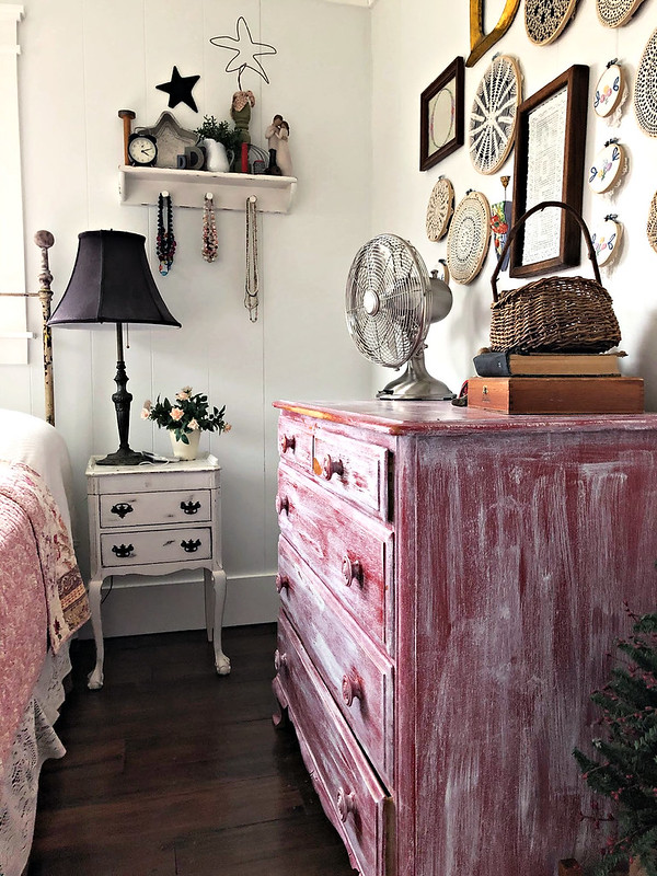 shabby dresser and night stand