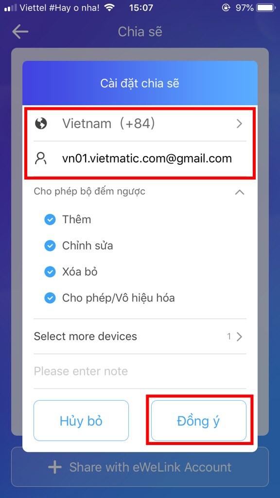 Chọn Vietnam, điền đầy đủ địa chỉ email/ Số điện thoại tài khiển trên điện thoại 2 và bấm đồng ý