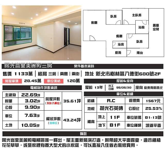 (Sold out)電梯物件推薦- 陽光峇里美麗殿三房