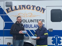 Rep. Davis delivers a donation of Masks to the Ellington Volunteer Ambulance Association on Friday, April 3rd.