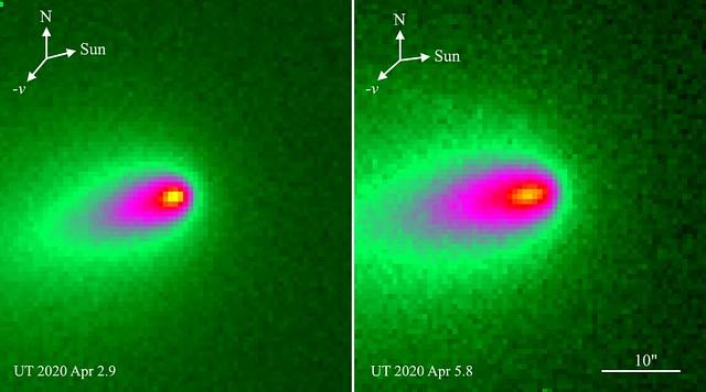 VCSE - A NEXT - távcsővel 2020. április 2,9-én és április 5,8-án kapott, és az intenzitásviszonyoknak megfelelően hamisszínezett képe a C/2019 Y4 (ATLAS) üstöksöről. Az északi irányt, a Nap (Sun) látszó irányát is bejelölték. Figylejük meg, ahogy néhány nap alatt megnyúlt az üstökös magjának alakja körről elnyúlttá (a legbelső sárgás folt). Forrás: NEXT távcső