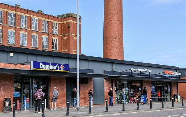 Long queues for Tescos on Blackpool Road in Ashton, Preston