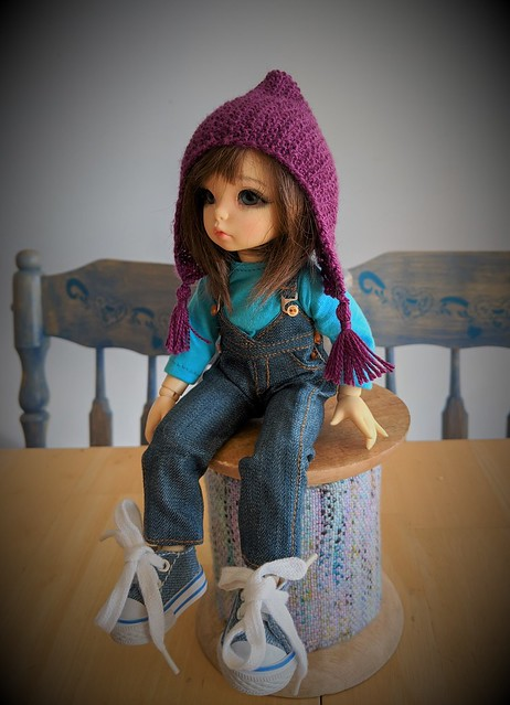 moss stitch pixie hat