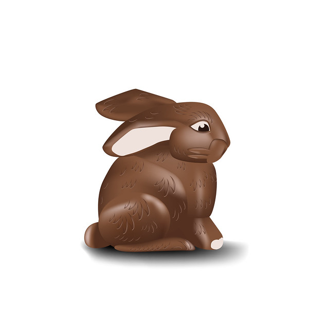 Chocolate Bunny isolated on white background for your creativity