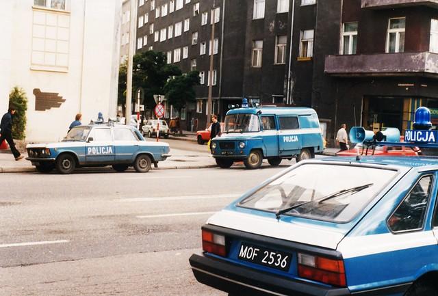 Nysa M521 + FSO-Polonez 1500 + Polski Fiat Police Gdynia Pologne Polska 10-09-90a