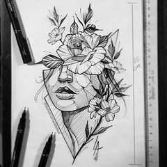Human Flower Sketch