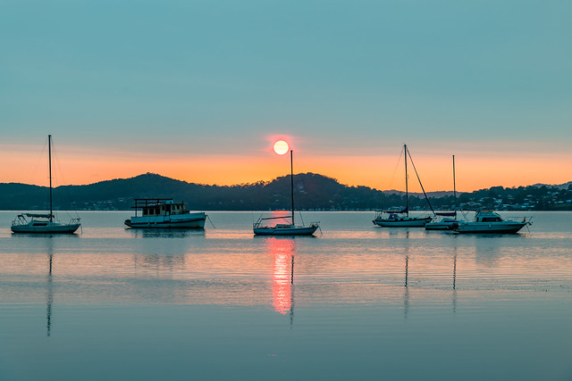 A Blanketed Sky, Boats and Reflections on the Bay