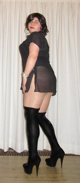 see-through LBD with black velvet boots