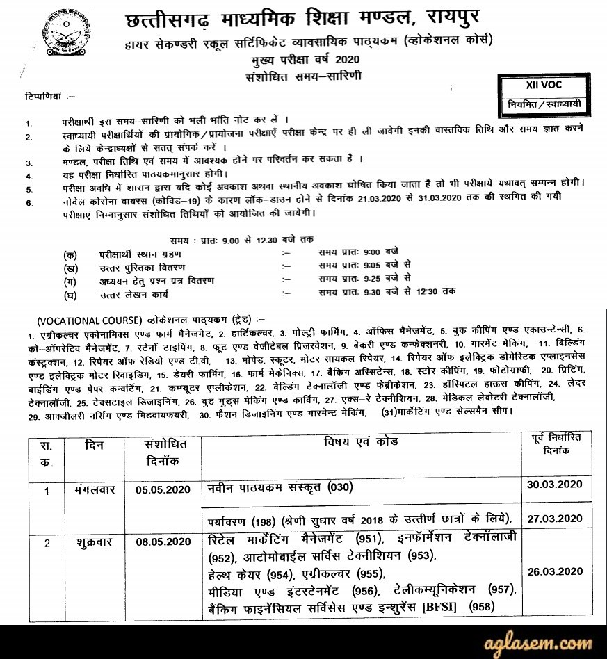 CGBSE 12th Time Table 2020 - Exam (Cancelled)