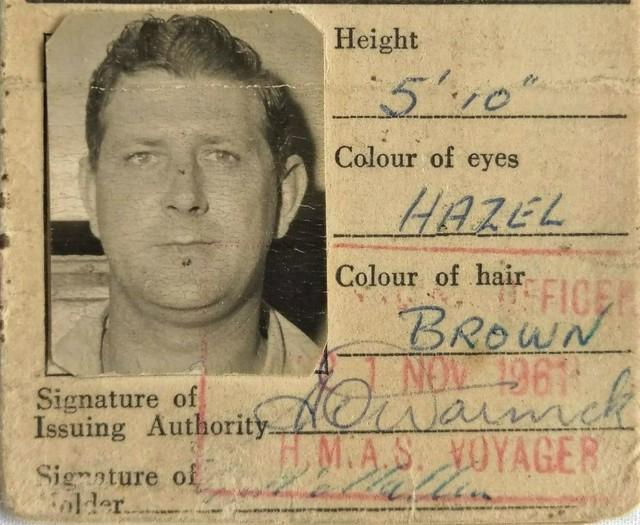 Identity card for Gordon George McMullen - Royal Australian Navy - 1961