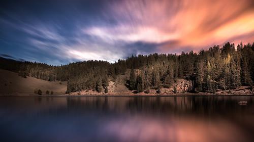 background beautiful blue cloud clouds colorado colorful forest lake landscape longexposure nature orange outdoor reservoir sky sunset water victor unitedstates