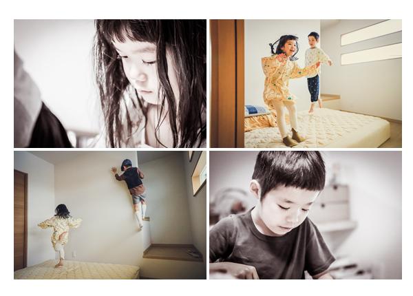 出張カメラマンが撮るご自宅で家族写真 自然な姿の兄弟