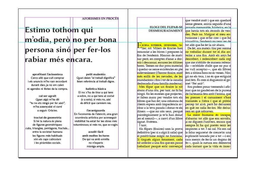 Maquetació de la revista d'autor Un mar degota n. 15, de Ferran Cerdans Serra.
