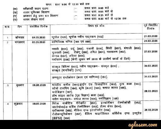 CGBSE 12th Time Table 2020 (Cancelled) - Check CG Board 12th Time Table 2020