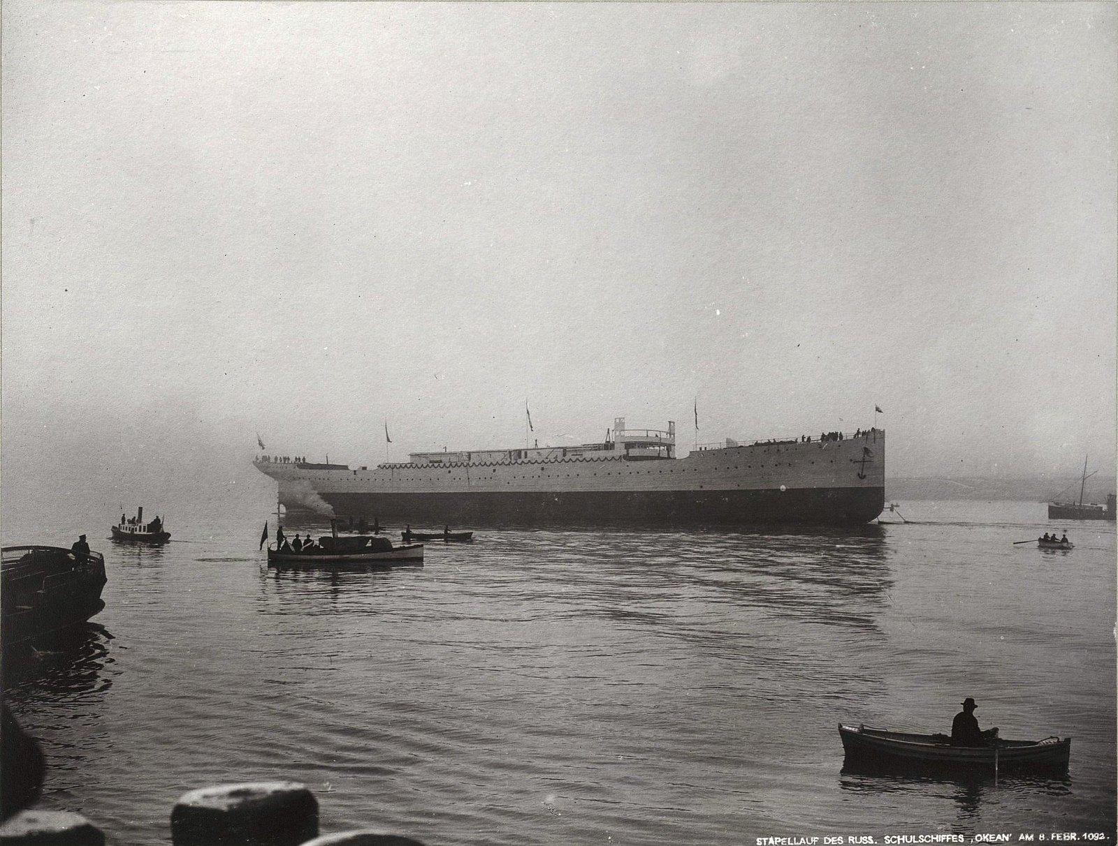 35. Учебное судно «Океан» на воде. 8 февраля 1902 г.