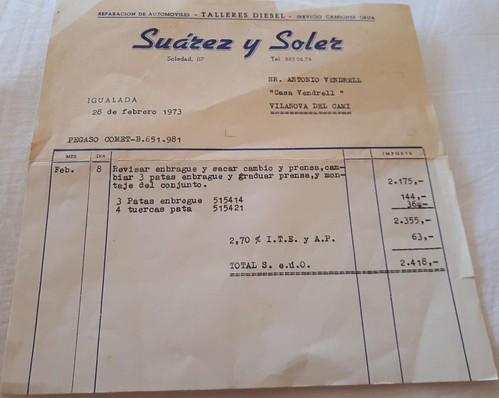 factura Suarez i Soler reparació Pegaso Comet