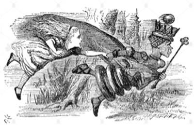 fig.7 La regina rossa trascina Alice