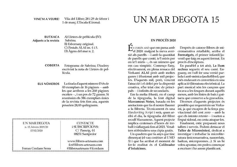PDF paginat de la revista d'autor Un mar degota n. 15, de Ferran Cerdans Serra.
