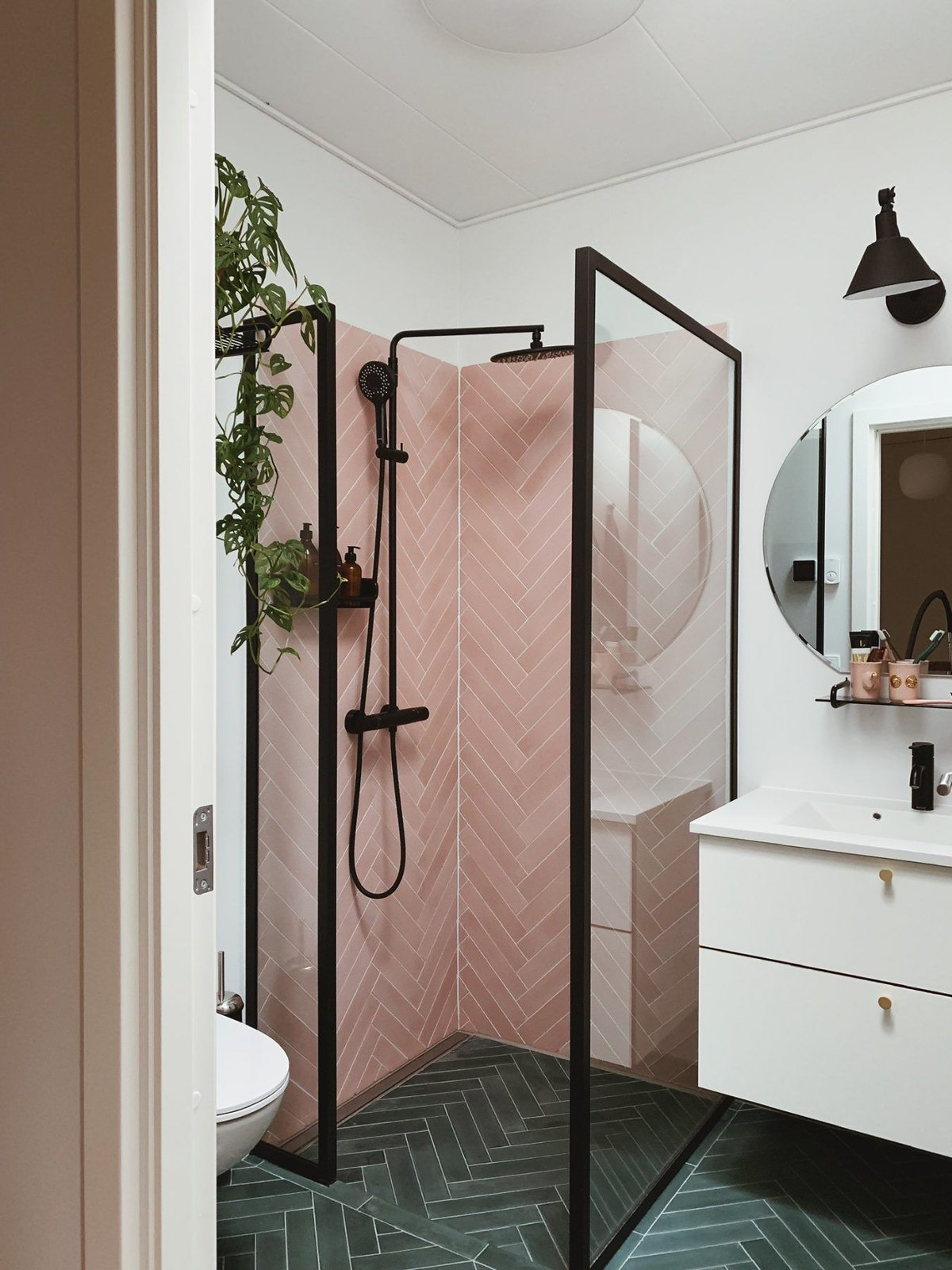 Pink Subway Tile Chevron Pattern Shower | Small Bathroom Inspiration