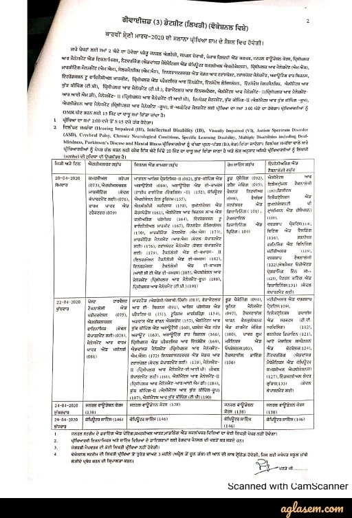 PSEB 12th class revised time table 2020