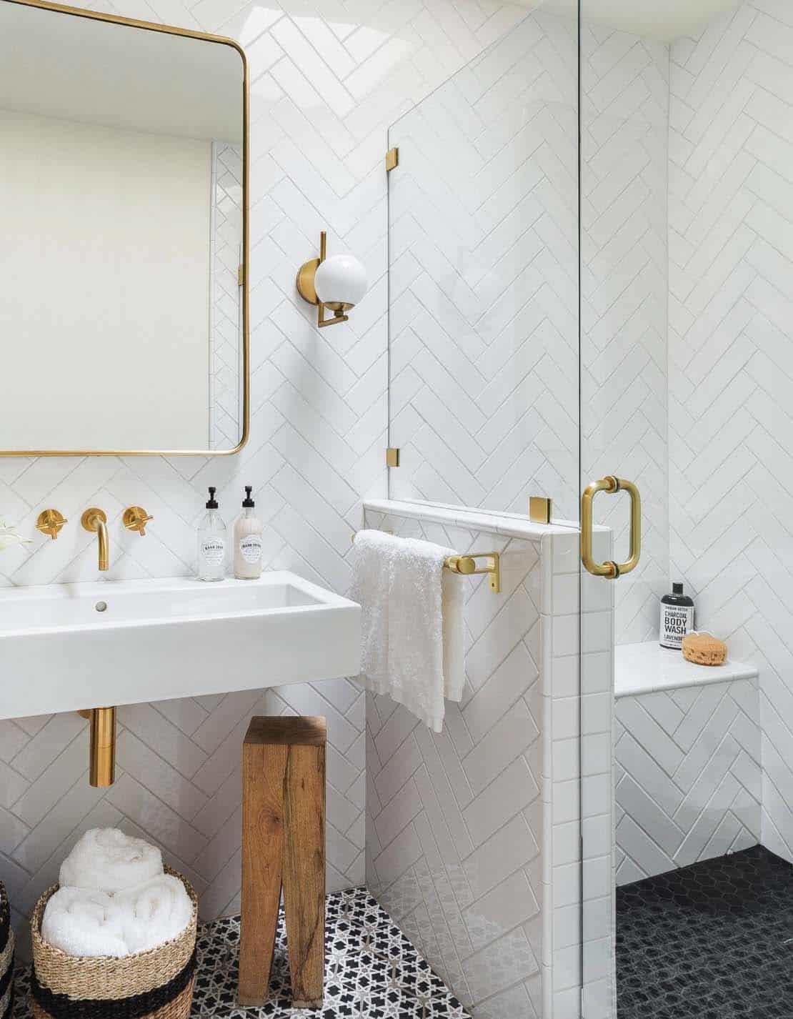 Modern Eclectic Bathroom | All White Bathroom | White Subway Tile Chevron Pattern Walls