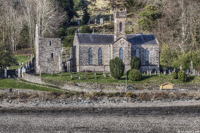 The historic Kilmun Church and Argyll Mausoleum; Kilmun, Argyll, Scotland
