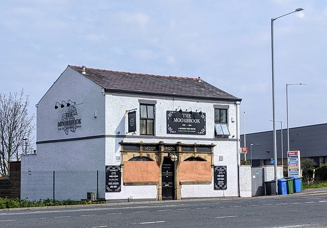 Boarded up Moorbrook pub in Preston