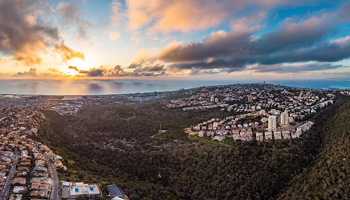 haifa haifadistrict israel mavic sunset sea panorama nature clouds air