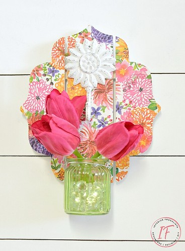 decoupage spring wall sconce