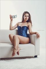 Daria in a blue corset