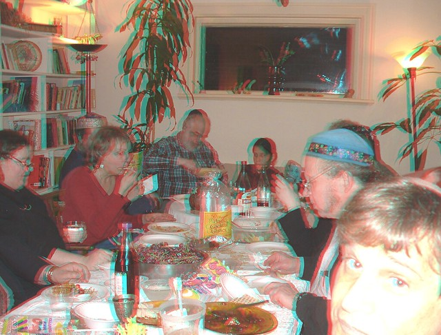 Seder at Marilyn's Red/Cyan Anaglyph