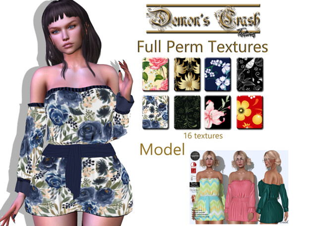 [DC] Textures -byCrash Full perm mesh-Boho mini dress