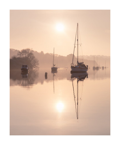 uk england water sunrise boats outdoors soft cornwall pastel quay gb yachts muted penryn mist reflection sepia still haze flood peaceful calm april masts traquil