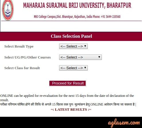 Brij University Class Selection Panel