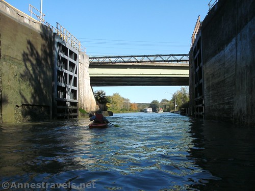 Kayaking out of Lock 32 on the Erie Canal, Pittsford, New York