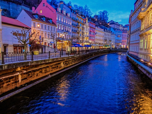 Along the canal in Karlovy Vary in Czech Republic.
