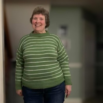 My friend Nancy from Georgetown knit this awesome striped sweater - Covid 19 Sweater # 1