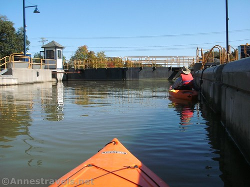 Full lock - waiting for the lock gates to open, Erie Canal, Rochester, New York