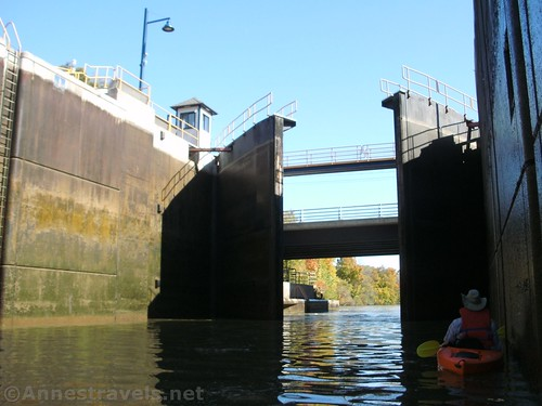 The lock gates open at Lock 33, Erie Canal, Rochester, New York