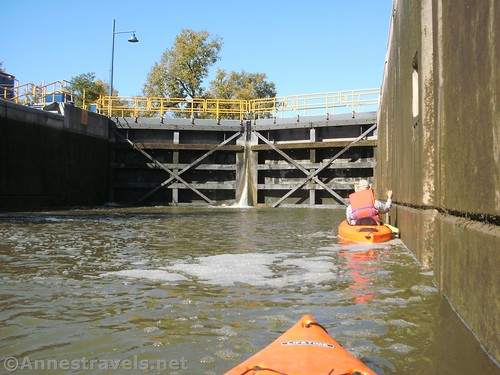 Watching Lock 33 on the Erie Canal fill with water, Rochester, New York