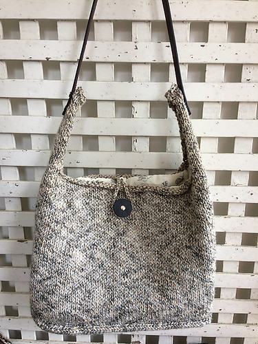 Kathy finished her Summer Commitment bag by Espace Tricot knit using Filatura Di Crosa Kilim and a JUL Designs Forager leather handle