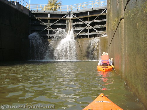 Watching Lock 33 fill with water on the Erie Canal, Pittsford, New York