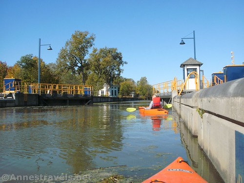 Exiting Lock 33 to continue westward on the Erie Canal, Rochester, New York