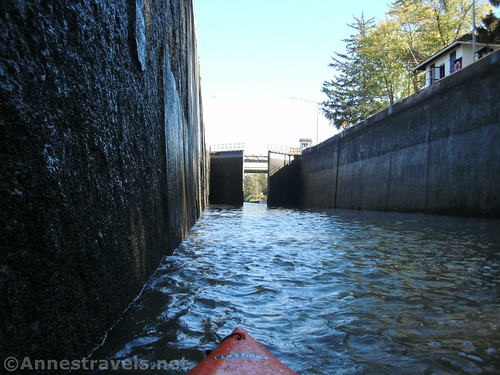 The lock gates at Lock 32 open for us to continue downstream, Erie Canal, Pittsford, new York