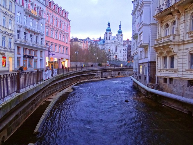 The canal in a sidestreet of Karlovy Vary in Czech Republic.